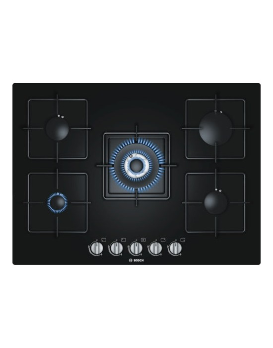 Serie | 6 PPQ716B1TI 70 cm, Black Hard Glass Gas hob with integrated controls