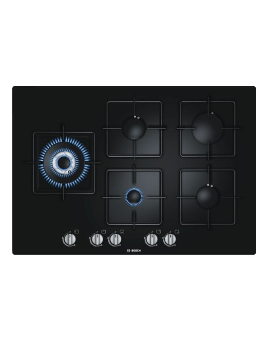 Serie | 6 PPS816B1TI 75 cm, Black Hard Glass Gas hob with integrated controls
